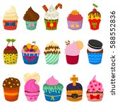 set of cute vector cupcakes and ... | Shutterstock .eps vector #588552836