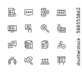 survey or test icon set in thin ... | Shutterstock .eps vector #588553862