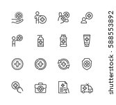 health care icon set in thin... | Shutterstock .eps vector #588553892