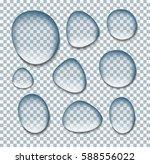 transparent drop of water on... | Shutterstock .eps vector #588556022