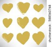 Set Of Cute Gold Hearts. Grung...