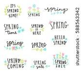 set of spring lettering. vector ... | Shutterstock .eps vector #588563342