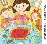 mother put on the table a cake   Shutterstock . vector #588567932