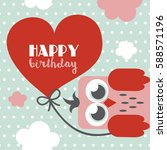 happy owl birthday card design. ... | Shutterstock .eps vector #588571196