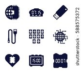 usb icons set. set of 9 usb... | Shutterstock .eps vector #588575372