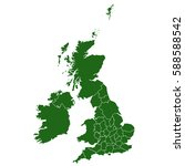 uk counties green map | Shutterstock .eps vector #588588542