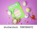 postcard  easter eggs and... | Shutterstock . vector #588588692