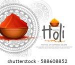 happy holi celebration poster... | Shutterstock .eps vector #588608852