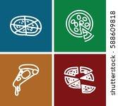 pepperoni icons set. set of 4... | Shutterstock .eps vector #588609818