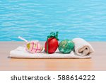 easter in pool  wellness and... | Shutterstock . vector #588614222