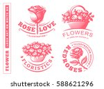 Stock vector set flowers logo vector illustration emblem design on white background 588621296