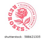 Stock vector red rose logo vector illustration emblem design on white background 588621335