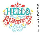 summer hand drawn lettering ... | Shutterstock .eps vector #588625268
