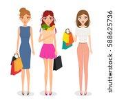 woman shopping character.... | Shutterstock .eps vector #588625736