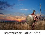 strong spartan warrior in... | Shutterstock . vector #588627746