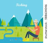 fishing and camping concept.... | Shutterstock .eps vector #588634046