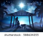 christian christmas nativity... | Shutterstock .eps vector #588634355
