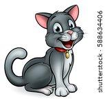 a friendly cartoon cat mascot... | Shutterstock .eps vector #588634406