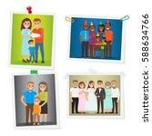 happy family pinned portraits... | Shutterstock .eps vector #588634766