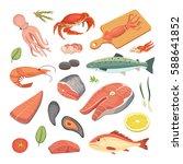 vector seafood illustrations... | Shutterstock .eps vector #588641852