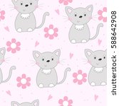 cute hand drawn cats colorful... | Shutterstock .eps vector #588642908