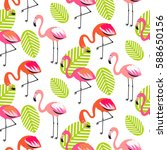 summer flamingo and leaves...   Shutterstock .eps vector #588650156