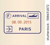 paris passport stamp. travel by ... | Shutterstock .eps vector #588651872