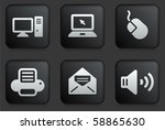 computer icons on square black...