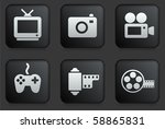 media icons on square black... | Shutterstock .eps vector #58865831