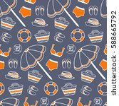 vector sea beach summer pattern ...   Shutterstock .eps vector #588665792