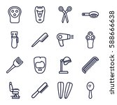 barber icons set. set of 16... | Shutterstock .eps vector #588666638