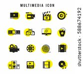 black and yellow multimedia... | Shutterstock .eps vector #588674192