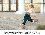 beautiful business woman in... | Shutterstock . vector #588675782