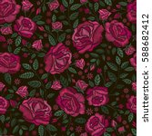 embroidery seamless pattern... | Shutterstock .eps vector #588682412