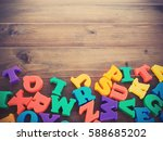 colorful plastic alphabets on... | Shutterstock . vector #588685202