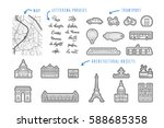 set icon of paris in a linear... | Shutterstock .eps vector #588685358