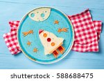 funny sandwich with rocket and...   Shutterstock . vector #588688475