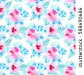 watercolor floral botanical...   Shutterstock . vector #588690686