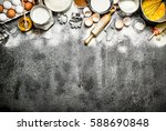 baking background. a variety of ... | Shutterstock . vector #588690848