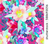 watercolor floral botanical...   Shutterstock . vector #588693056