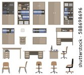 set of office furniture. there... | Shutterstock .eps vector #588698696