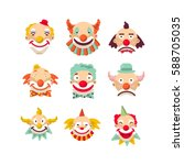 clown faces vector isolated...   Shutterstock .eps vector #588705035
