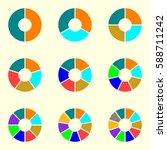 circle chart set. round pie... | Shutterstock .eps vector #588711242