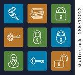 secret icons set. set of 9... | Shutterstock .eps vector #588712052