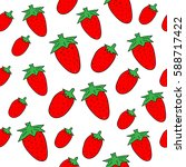 strawberry seamless pattern.  | Shutterstock .eps vector #588717422