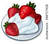 dessert with ripe red... | Shutterstock .eps vector #588717428
