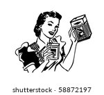 housewife with products   retro ... | Shutterstock .eps vector #58872197