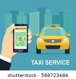 taxi service. smartphone and... | Shutterstock .eps vector #588723686