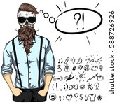 fashionable skull guy. he is... | Shutterstock .eps vector #588726926