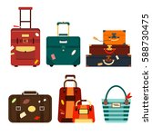 set travel bags isolated on... | Shutterstock .eps vector #588730475
